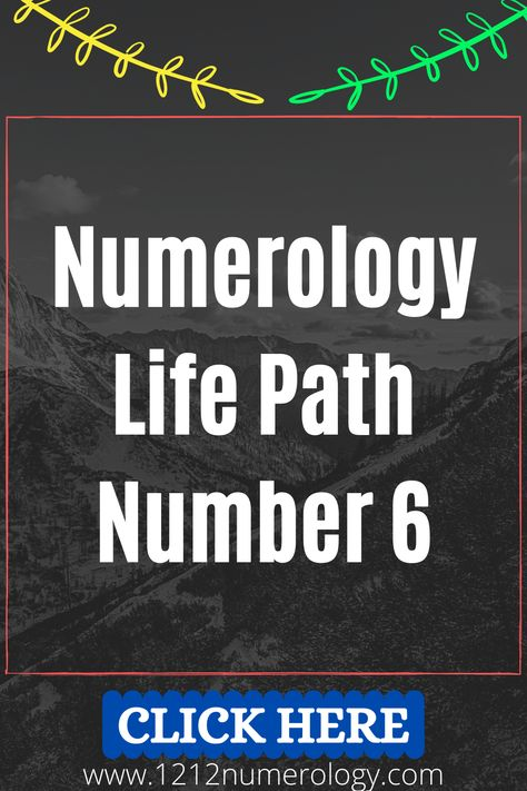 Numerology #6 is connected with balance, responsibility and love. Life Path Number 6 has a lot of energy of service in it. It holds the harmony between the macrocosms and microcosms. Some sources perceive numerology 6 to be the perfect number. The key to the numerology 6 life path number is love toward others in order to exist for others. Life path number 6 brings the energy of practicality, realism, materialization of harmony, craft and work in service.