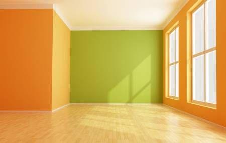 Vacio Interior Moderna Verde Y Naranja En 2020 Colores De Casas Interiores Colores De Interiores Decoracion De Interiores Pintura