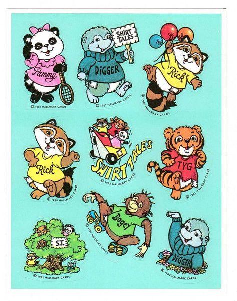 Hallmark Shirt Tales Sticker Sheet Vintage by CollectorsWarehouse, $2.75