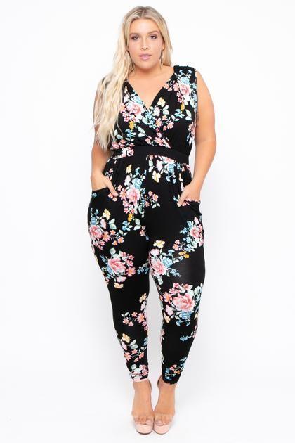 8f293e945017c Plus Size Rosewood Cross Front Jumpsuit - Black – Curvy Sense