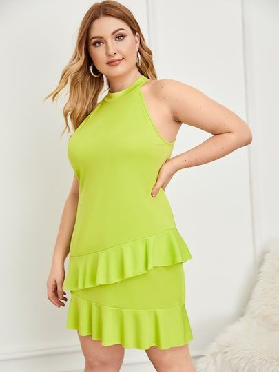 Plus #Neon #Lime #Ruffle #Trim #Halter #Dress Color: #Green ...