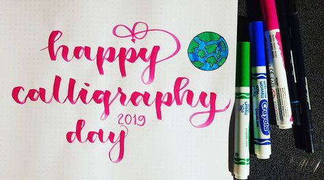Bouncing on the bandwagos a bit late. 🙈 Wishing all the calligra-Fam a Happy world calligraphy day! 😁 It has been a wonderful first year for me learning more about calligraphy. Learning it wasn't easy but hopefully I'll be able to learn more of the fundamentals in a few days. 🙏🏻 #Worldcalligraphyday #14August2019 #happiness #love