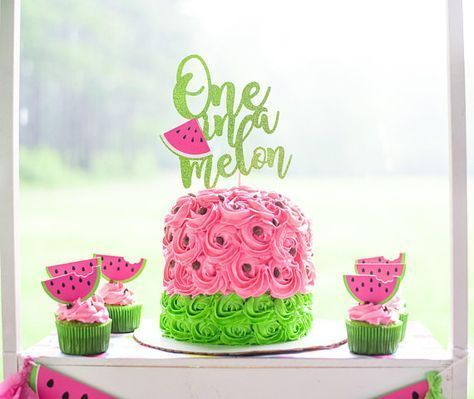 One in a Melon First Birthday - One in a Melon Cake Topper - Watermelon Birthday - Watermelon Cake Topper - One in a Melon - Summer Birthday#birthday #cake #melon #summer #topper #watermelon
