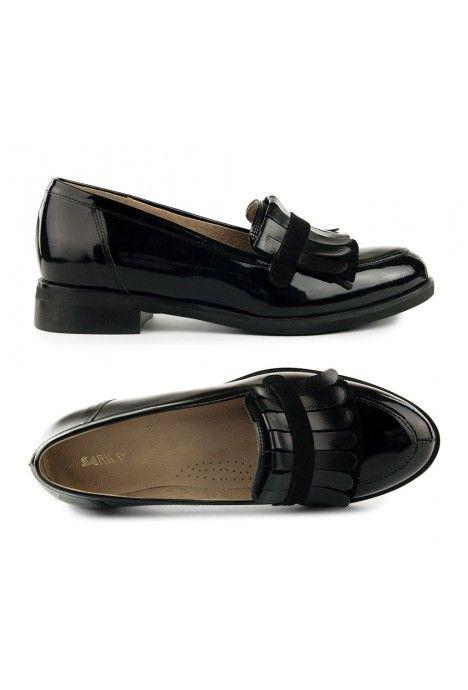 Czarne Lakierowane Lordsy Ethel 1994 Naturalna Skora Wloska Loafers Shoes Accessories