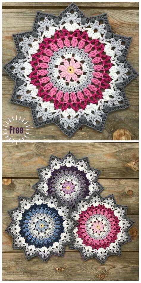 Amigurumi häkeln Crochet Winter Mandala Free Crochet Pattern & Paid C Motif Mandala Crochet, Crochet Coaster Pattern, Crochet Motifs, Crochet Squares, Crochet Doilies, Granny Squares, Mandala Rug, Crochet Placemats, Crochet Circles