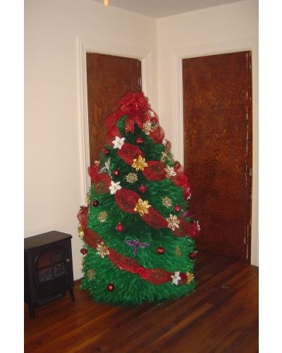 A life size christmas tree made out of deco mesh | CraftOutlet.com Photo Contest by Tawanna Waits