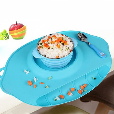 Happy Mat Silicone Plate Stable Bowl Toddler Infant Kids Baby Dishes 2 Spoons