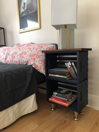 My Wood Crate Nightstand In 2020 With Images Wooden Crates