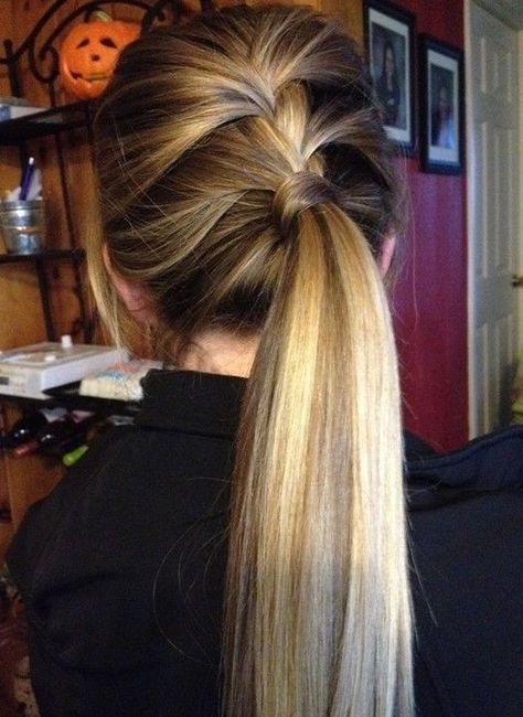 Cute Everyday Hairstyles Side Lace Braid Ponytail Hairstyle Everydayhairstyles Cute Ponytail Hairstyles Hair Styles Low Ponytail Hairstyles