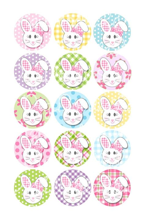 Easter Floppy Ear Bunny Girl With Bows Bottlecap Images 1 Inch   Etsy