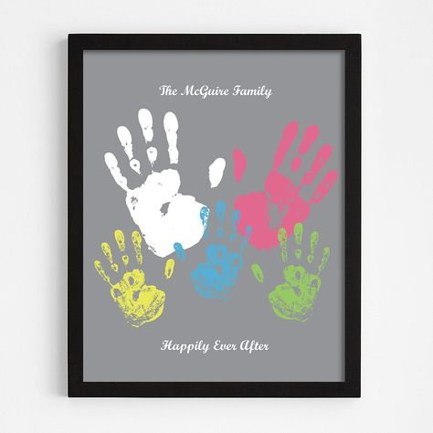Personalized Family Handprint Black Framed Print - Gray - Script - Personal Creations Gifts