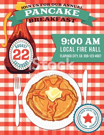 Poster Or Flyer For A Pancake Breakfast Fundraiser Event On A Red And Pancake Breakfast Fundraiser Breakfast Pancakes Fundraiser Flyer