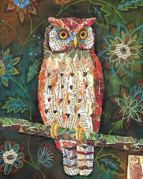 Moonlit Perch Owl art by Lori Siebert This listing is for a print of my original artwork. The image is printed on high quality paper. It is