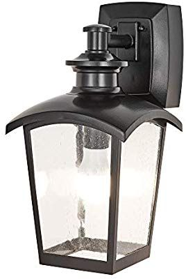 Home Luminaire 31703 Spencer 1 Light Outdoor Wall Lantern With Seeded Glass And Built In Gfci Outlets Black Outdoor Wall Lantern Wall Lantern Seeded Glass