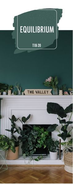 Home Tour: A Bold Statement in the Sunset Bungalow Show off your inner nature lover with a little help from BEHR Paint in Equilibrium. This dark green color pops against the bright white fireplace and . Paint Colors For Living Room, Paint Colors For Home, House Colors, Warm Bedroom Colors, Bungalow, Green Paint Colors, Bher Paint Colors, Natural Paint Colors, Green Color Schemes