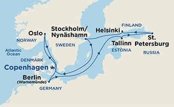 Map Showing The Port Stops For Scandinavia Russia From Copenhagen For More Details Refer To Princess Cruises Princess Cruises Europe Scandinavian Cruises