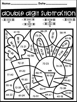 Easter Color By Code Double Digit Addition And Subtraction With