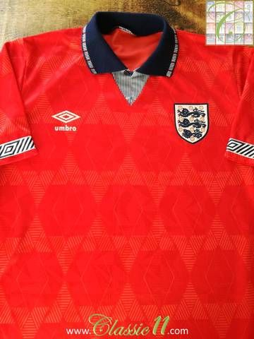 Official Umbro England Away Football Shirt From The 1990 91 International Season Football Shirts England Football Shirt Football