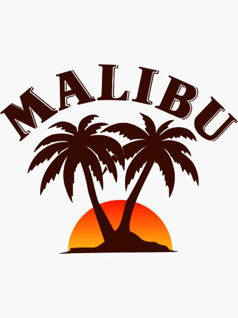 'Malibu Logo' Sticker by Ashleydc - Malibu Rum, Malibu Drinks, Beer Table, Beer Pong Tables, Ping Pong Table, Cooler Painting, Diy Painting, Photo Wall Collage, Picture Wall