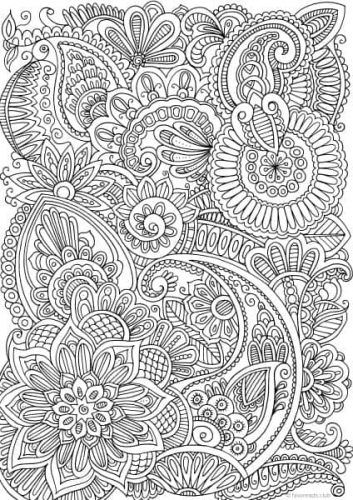 Paisley Flower Printable Adult Coloring Pages Mandala Coloring