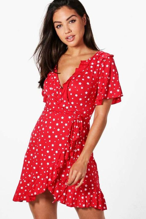 8657a7976e5  20 boohoo Brooke Star Wrap Tea Dress. Dresses are the most-wanted wardrobe  item for day-to-night dressing. From cool-tone whites to block brights