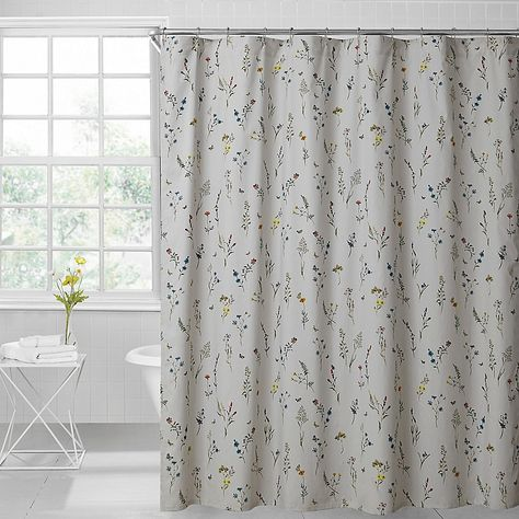 Sophie Floral 72 Inch X 96 Inch Shower Curtain In Light Grey