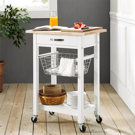 Mainstays Multifunction Cart White Walmart Com In 2020 Rolling Kitchen Cart Kitchen Cart Small Kitchen Cart