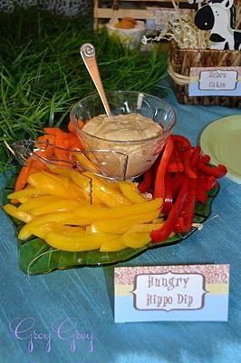 """Hungry Hippo Dip""  hummus & fresh veggies  http://www.greygreydesigns.com/2011/02/bretts-jungle-safari-1st-birthday-party.html"