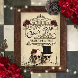 Party Decor Wedding Sweet Table Skull Wedding Dessert Bar Sign Table Sign