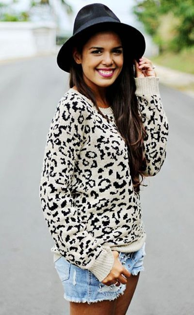 Fluffy Leopard Print Sweaters,White Leopard print sweater for ...