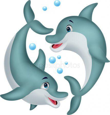 Niedliche Delfin Paar Cartoon Stockvektor Meerjungfrau Cartoon Cartoon Tiere Zeichnen Paar Cartoon