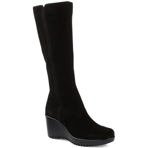 0464041d54f3 La Canadienne Gaby Tall Suede Wedge Boots (€185) ❤ liked on Polyvore  featuring