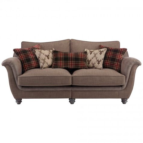 Sofa Sale Galloway Seater High Back Sofa in Blyth Fabric Brown with Brown Check Scatters Fabrics
