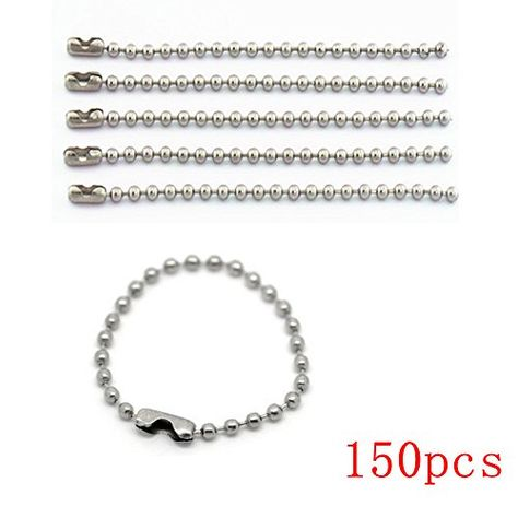 Long Bead Connector Clasp Ball Chain Keychain Key Rings YSLF 150 pcs 100mm Tag Chain