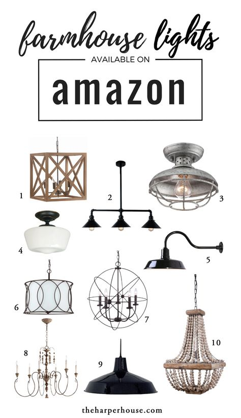 Affordable farmhouse light fixtures to help you get that Fixer Upper style! Joanna Gaines approved and available on Amazon! www.theharperhouse.com