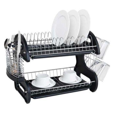 Home Basics 2 Tier Plastic Dish Rack Drainer Dish Drainers Dish