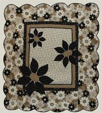 """Good Day Sunshine Quilt Pattern by Abbey Lane Quilts at KayeWood.com. Three oversized appliqued flowers add an eye catching element to this simple quilt making it a real standout. The quilt goes together in an afternoon and the scallped border finishes it off with an elegant, yet carefree look. Finished size - 65"""" x 73"""" http://www.kayewood.com/item/Good_Day_Sunshine_Quilt_Pattern/2896 $9.00"""