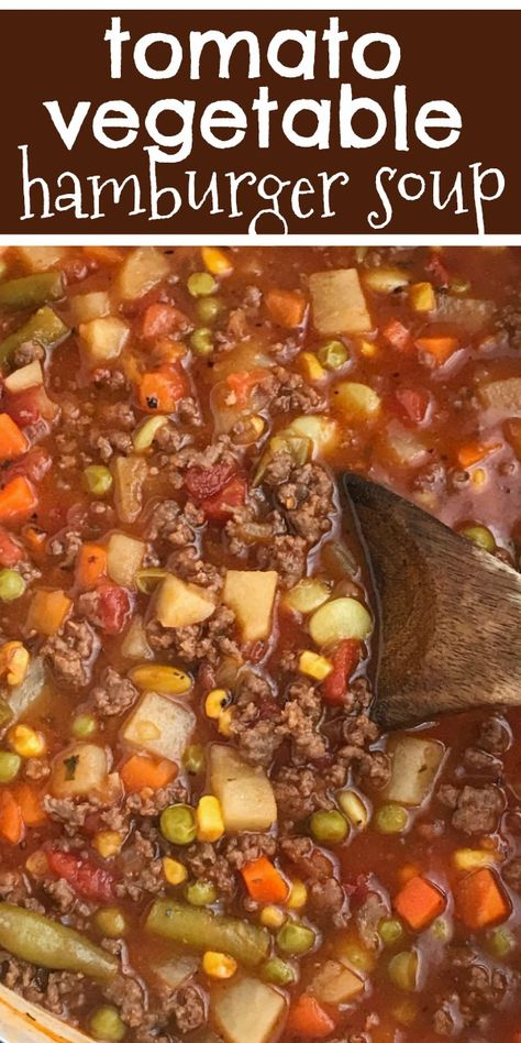 Hamburger Soup   Soup Recipes   Tomato Hamburger Vegetable Soup is an easy tomato based soup recipes with ground beef, seasonings, and frozen vegetables. Simmers on the stove top for the ultimate comfort food that your family will love. #souprecipes #hamburgersoup #easydinnerideas #dinnerrecipes #recipeoftheday