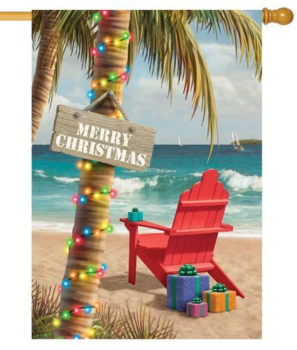 Christmas On The Beach Adirondack House Flag With Images