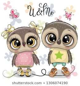 Two Cute Cartoon Owls On A Flowers Background Milyj Multfilm