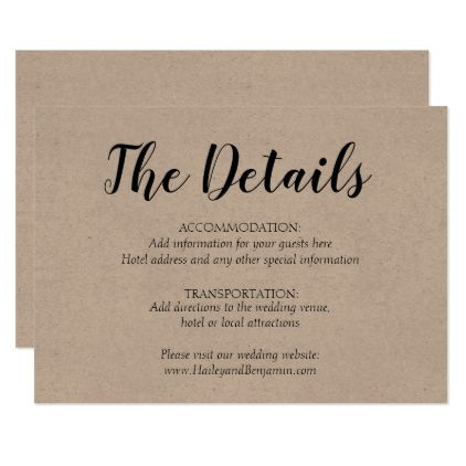 Rustic Simplicity Wedding Details Card Zazzle Com Kraft