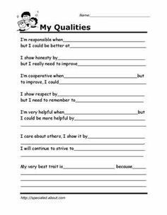 My Strengths and Qualities Preview | Middle School Counseling ...