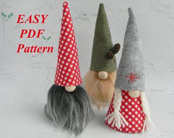 Free Felt Christmas Gnome Pattern.Gnome Felt Pattern Scandinavian Gnome Pattern Gnome Pdf