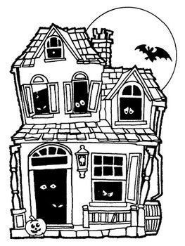 Coloring Pages Halloween Haunted House