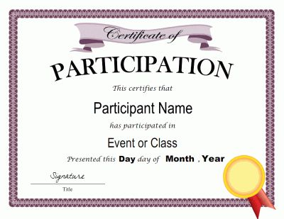 Participation Certificates Templates 52 Free Printable Certificat Certificate Of Participation Template Free Certificate Templates Awards Certificates Template