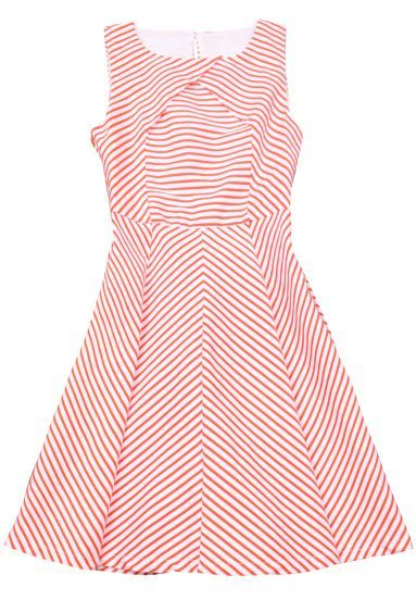 Red Striped Ruffles Dress.