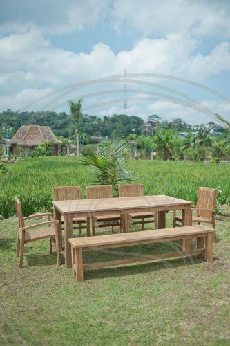 Teak Tuintafel 220x100cm 5 Stapelstoelen Bank Outdoor Decor