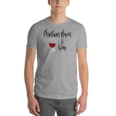 Women's and Men's Christmas Movies & Wine T-Shirt, Tee, Holiday Clothing, Christmas Tee, Short-Sleeve Unisex T-Shirt