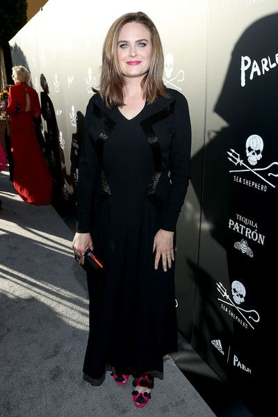 Actress Emily Deschanel arrives to Sea Shepherd's 40th Anniversary Gala.