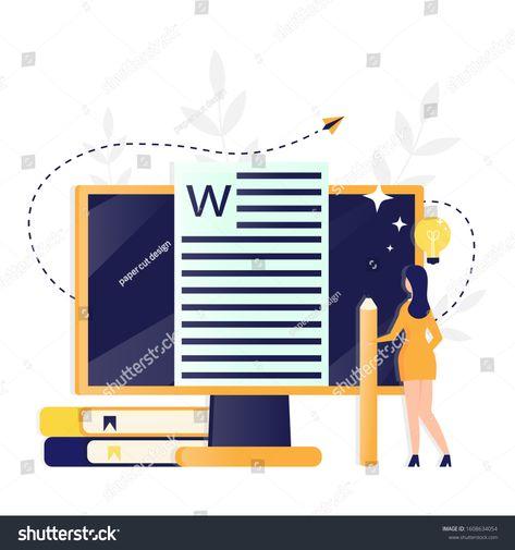 Vector Illustration Copywriting Article Writer Blogging Stock Vector (Royalty Free) 1608634054